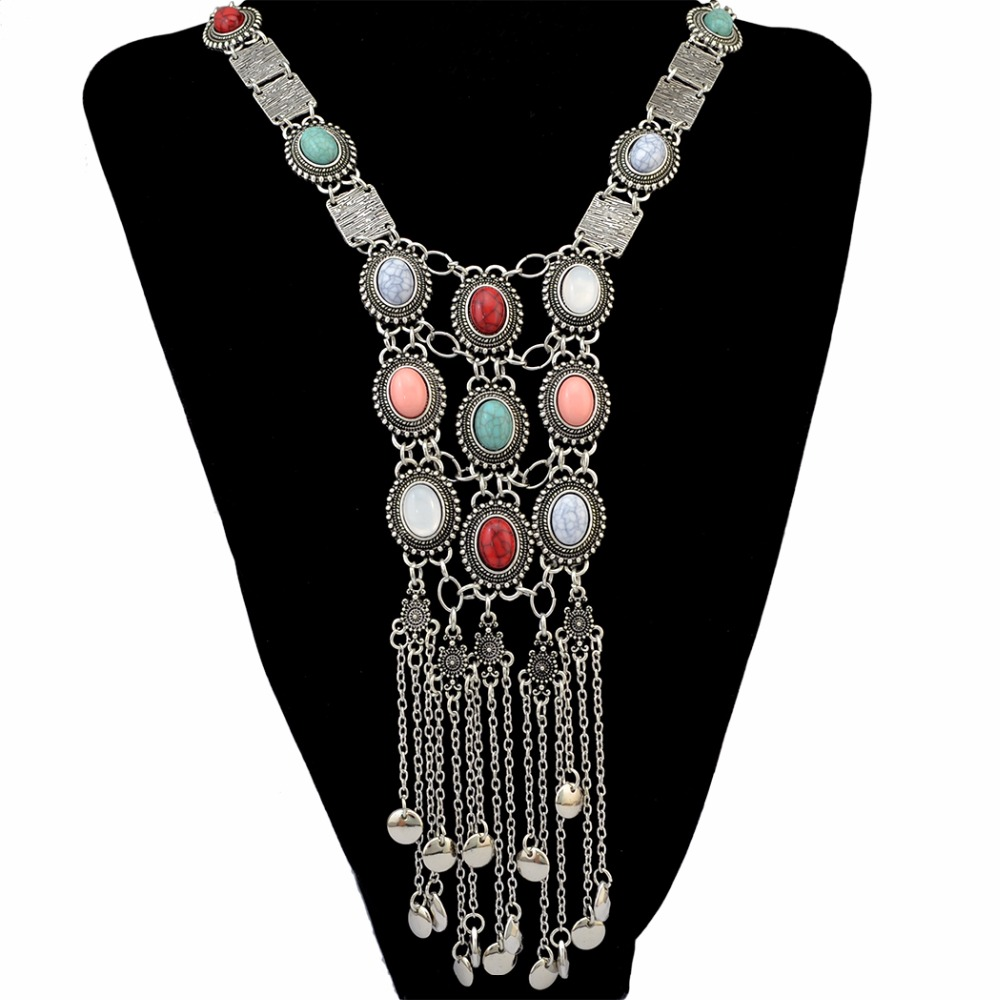 Tribal Silver long Coin Déclaration Collier Dangle Boucles d/'oreilles Bijoux Set For Women
