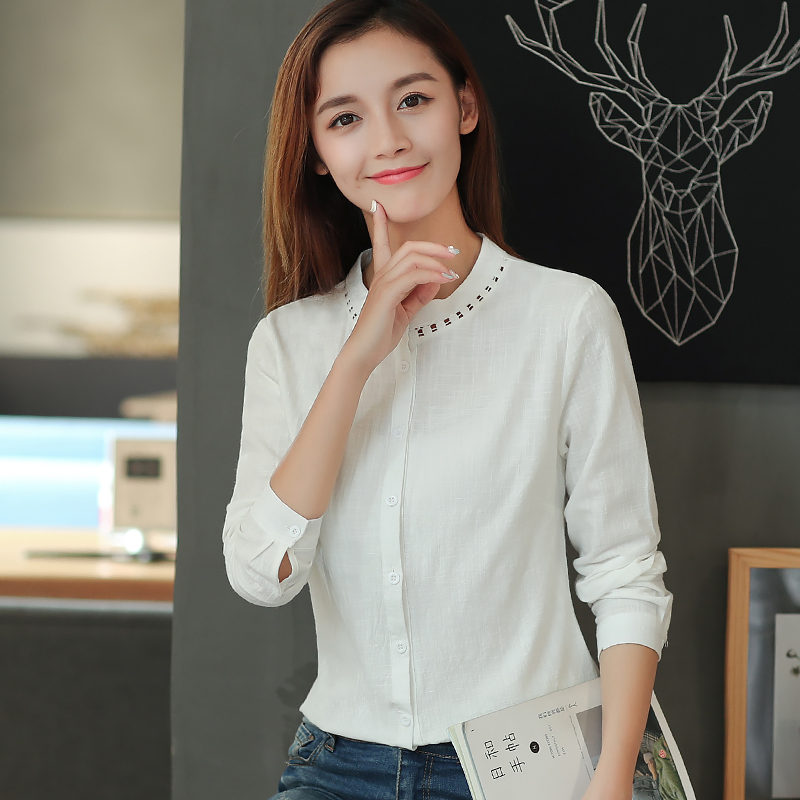 821b922faecd New Fashion 2018 Spring Women Cotton Linen Blouse Full Sleeve Button  Closure Ladies Simple Summer Tops for Work D3A XS S M-in Blouses   Shirts  from Women s ...