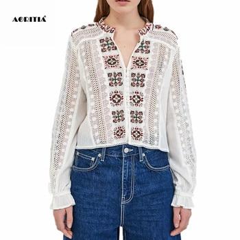 338913abe6a 2019 для женщин вышивка белые блузки для малышек рубашка с длинными рукавами  модные топы костюмы Женская