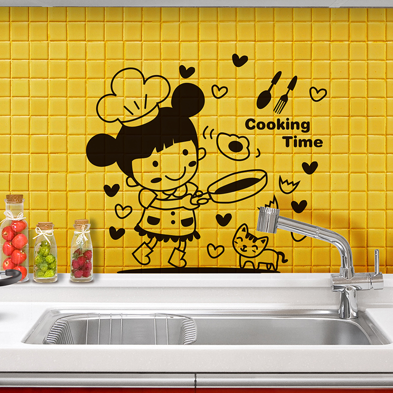 [SHIJUEHEZI] Black Color Girl Fried Eggs Kitchen Sticker Vinyl Cartoon Wall Decals for Dining Room Sink Tile Fridge Decoration