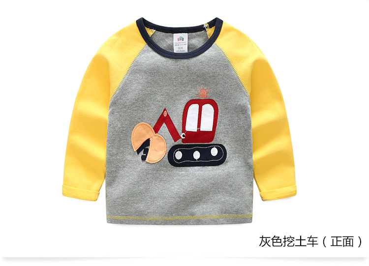 2018 Spring Autumn For 2-9 10 Years Children Cotton Striped Patchwork Cartoon Car Bus Truck Baby Kids Boys Long Sleeve T Shirts (23)