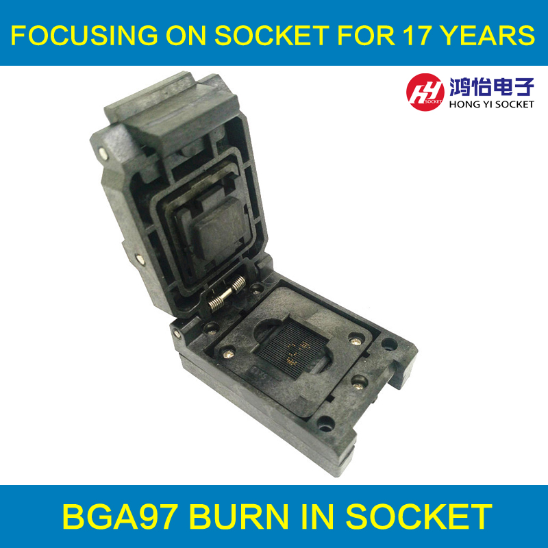 BGA97 Clamshell burn in socket pitch 0.8mm IC size 9*9mm BGA97(9*9)-0.8-CP01NT BGA97 VFBGA97 burn in programmer socket ntc5d 9 5d9 9mm