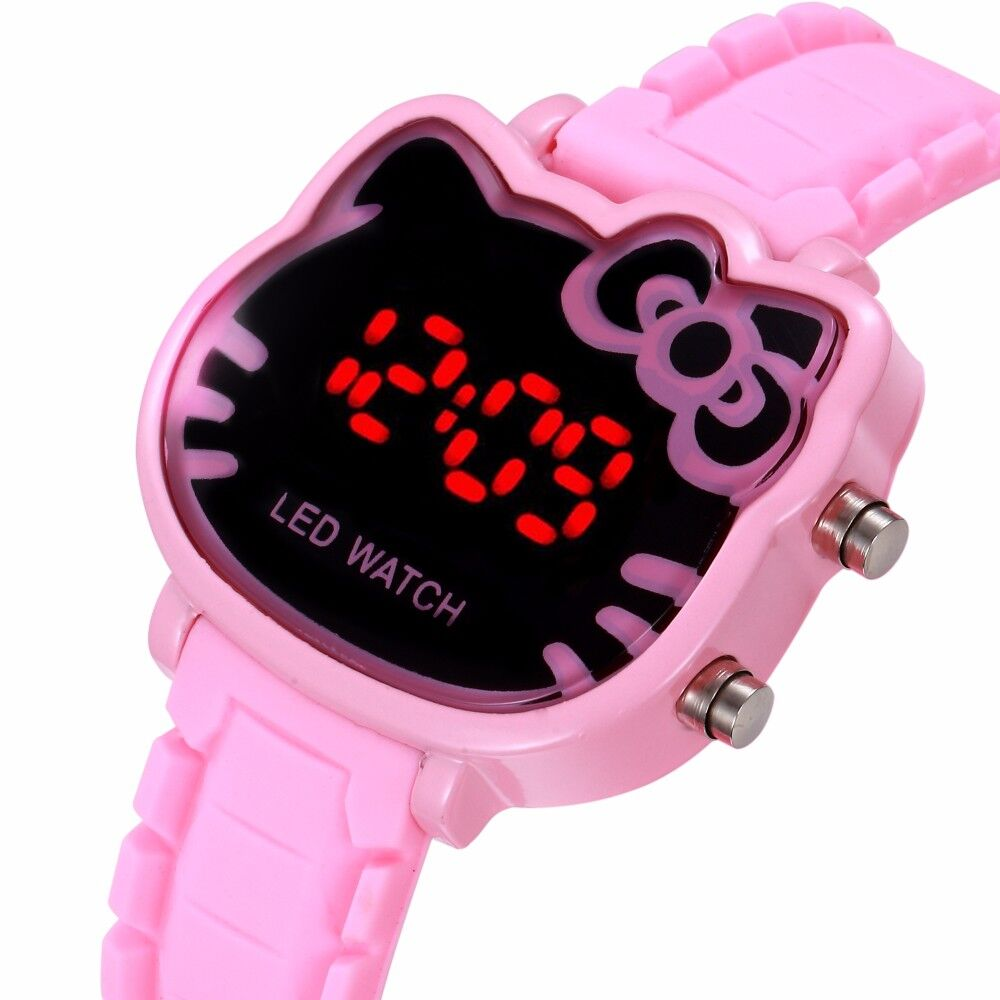 New Children Watches Little Girl Watches Hello Kitty Led Digital Girls Watch Fashion Cartoon Cat Watch Silicone Sports Watch new 2015 led watch women kids watch fashion casual cartoon watches colorful rainbow girls