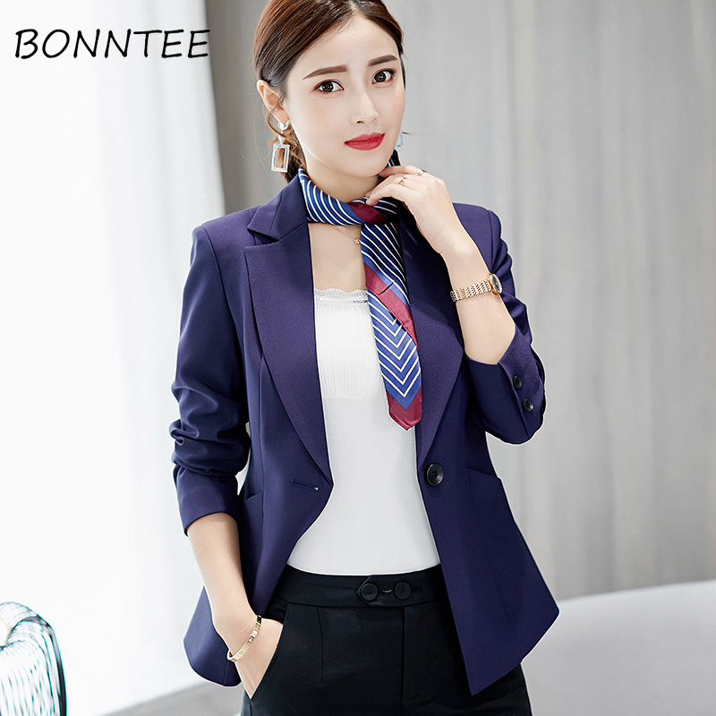 Blazers Women Slim Casual Single Button Female Elegant Korean Long Sleeve Womens Daily Chic Solid Soft Females Office Lady New