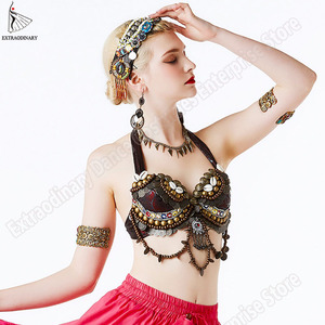 Image 2 - New Tribal Gypsy Bra Belly Dance ATS Bra Adjustable Women Hand Beading Bellydance Clothes Top Costumes Style Gypsy