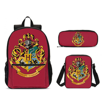 Harri Potter Hogwarts Crest Print 3pcs/Set Students Backpack Pencil Bag Men Bookbags School  Bags For Girls Boys Kids Bagpack цены онлайн