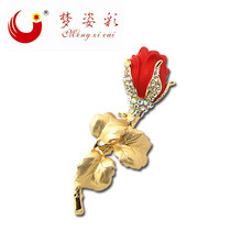 Exquisite Poppy Red flower Rhinestone Broach Gold Plated Leaves Rose Cheap Brooches Mujer Wedding Coustume Bouquet Hijab Pins