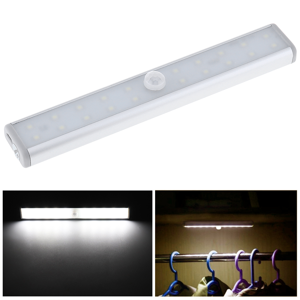 20 Bright LED USB Rechargeable Cabinet Night Light with IR Infrared Motion Detector Sensor for Closet / Wardrobe / Bedroom mainifire pir infrared motion sensor nightlight usb rechargeable 12 led light induction corridor closet wardrobe led night lamp