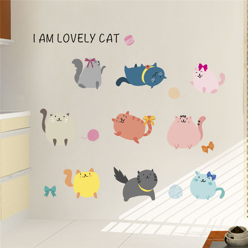 Cute Fat colorful Cat Paw wall stickers I am Lovely cat Kids Rooms Children Bedroom wall Decal Nursery room decor Poster Mural in Wall Stickers from Home Garden