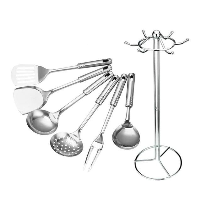 Rosenice 7pcs Kitchen Tool Set Stainless Steel Cooking Utensil Spoon Utensils Tools Upscale Kitchenware