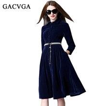 GACVGA Herbst Winter Kragen Hals Kleider Abendgesellschaft Samt Kleid Für Frauen Vintage Sexy Hohe Taille Lange Maxi Kleider Vestidos