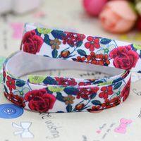 5/8'' Free shipping Fold Over Elastic FOE rose printed headband diy decoration wholesale OEM P2935