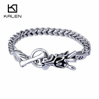 316L Stainless Steel Dragon Head Pattern Bracelet For Men Punk Fashionable Free Shipping