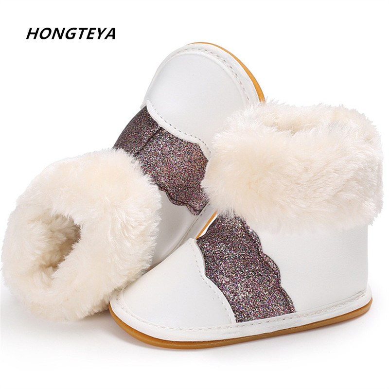 Hot sell hard sole winter super warm fur Lace stitching pu leather style baby moccasins shoes baby girl boys shoes baby boots