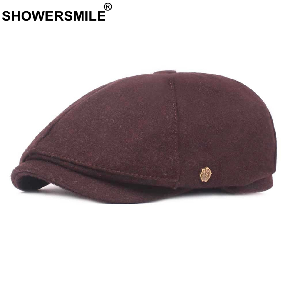 SHOWERSMILE Autumn Winter Hat Newsboy Gatsby Cap Men Tweed Brown Ivy Flat Caps Male Vintage Solid Casual Retro Driving Caps 2019