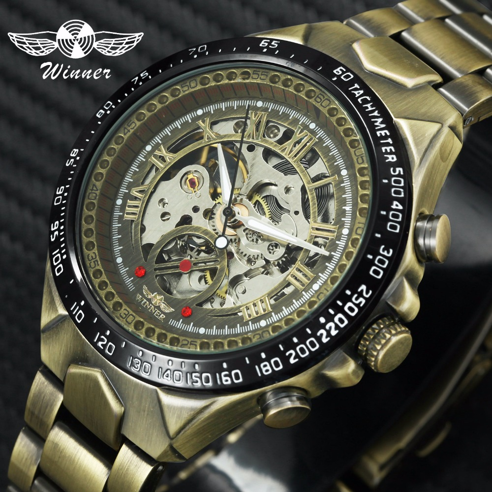 WINNER Auto Mechanical Watch Men Top Brand Luxury Skeleton Dial Copper Stainless Steel Strap Classic Vintage Wristwatches 2018