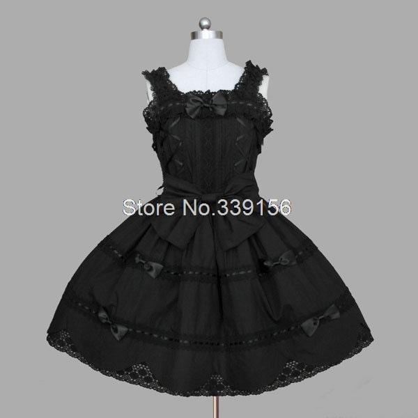 2014 Gothic Lolita Dress Lace Bow Black Princess Punk Style Dress