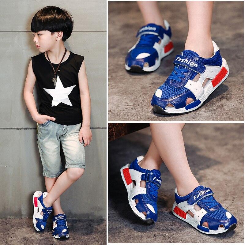 ФОТО Baotou children sandals boys summer sport beach shoes leather surface breathable soft bottom female children's shoes