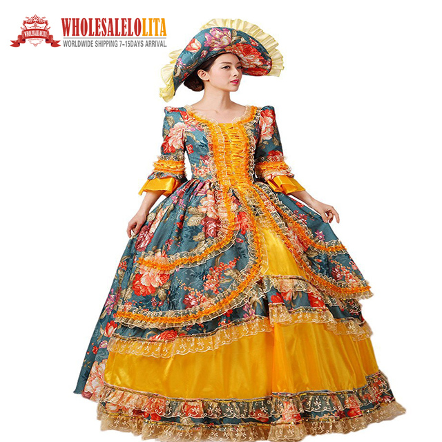 ef0529d9fd19 New 18th Century Masquerade Ball Gown Southern Rococo Belle Dress Printing  Reenactment Women Clothing Sc 1 St AliExpress.com