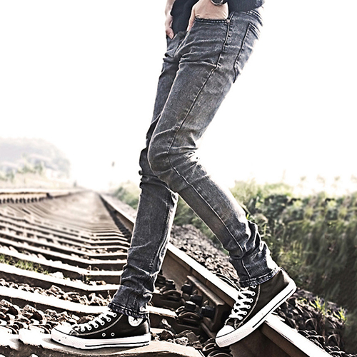 цена Fashion Skinny Jeans Teenager Young Men Slim Pants Trousers Pockets Casual Pencil Pants онлайн в 2017 году