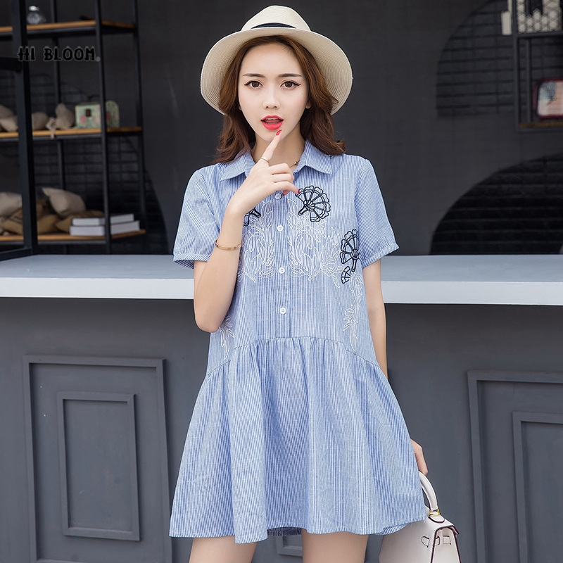 2018 New Maternity Dress Large Size Loose Pregnant Women Stripe Short Paragraph Summer Cotton And Linen Pregnant Wome Dresses