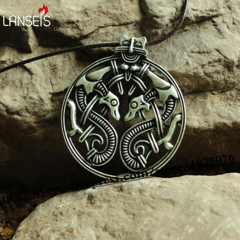 lanseis 20pcs viking retro Raven of Odin Hugin Jewelry Viking Scandinavian Solid Pendant punk Necklace handmade