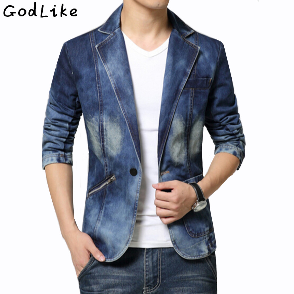 New 2017 Spring Fashion Brand Male Jean Blazer Mens Trend Suits Casual One Button Jean Slim Fit Denim Jacket Suit Plus Size 4XL ...