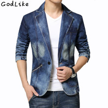 New 2017 Spring Fashion Brand Male Jean Blazer Mens Trend Suits Casual One Button Jean Slim Fit Denim Jacket Suit Plus Size 4XL