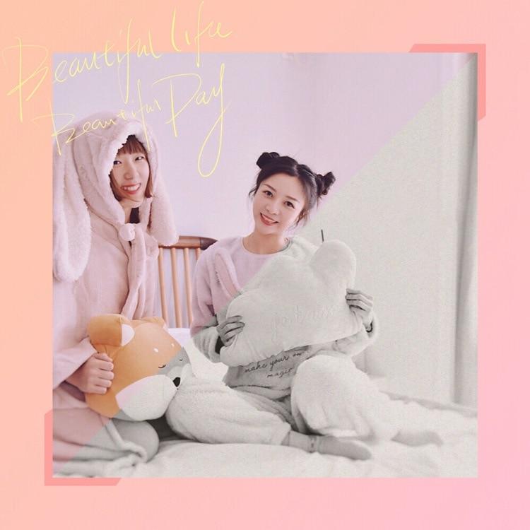 Cute Pink Comfy Blanket Sweatshirt Winter Warm Adults and Children Rabbit Ear Hooded Fleece Blanket Sleepwear Huge Bed Blankets 60