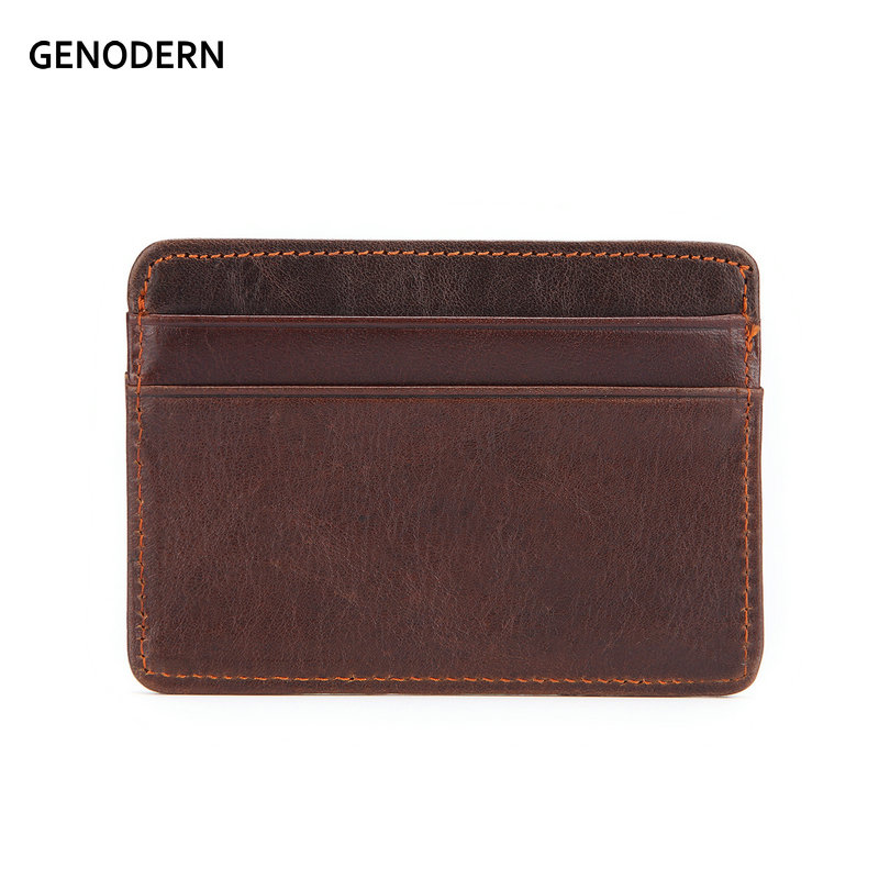GENODERN Women & Man Genuine Leather Card Holder Cowhide Slim Card Wallet Small Thin Card Package