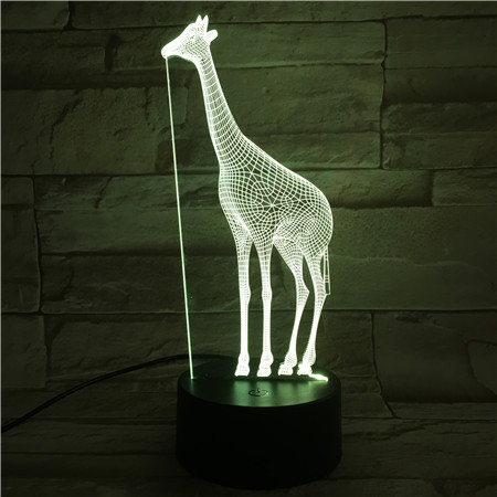 Giraffe Night Lamp 3D Illusion 7 Color Changing Decorative Light Child Kid Girl Gift Animal Giraffe Desk LED Night Light Bedside
