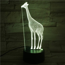 Giraffe Night Lamp 3D Illusion 7 Color Changing Decorative Light Child Kid Girl Gift Animal giraffe Desk LED Night Light Bedside 3d illusion ring 7 color changing led valentine gift night light
