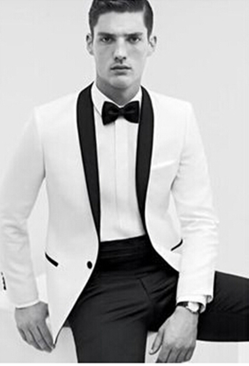 Wedding Groom Tuxedo groom wedding tuxedo styles promotion shop for promotional new arrival style tuxedos white suit black lapel bridegroom suits custom made jacketpantsgirdle