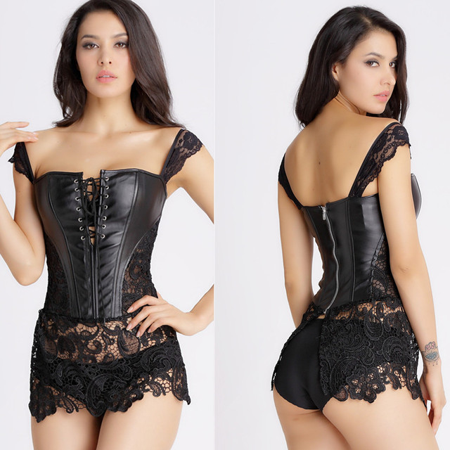 Black lace corset dress plus size