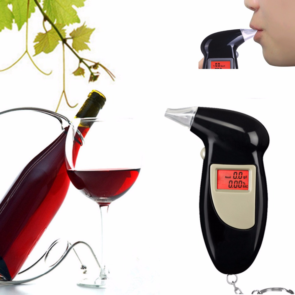 Digital LCD backlit display breathalyzer audible alert breath alcohol tester box parking gadget analyzer