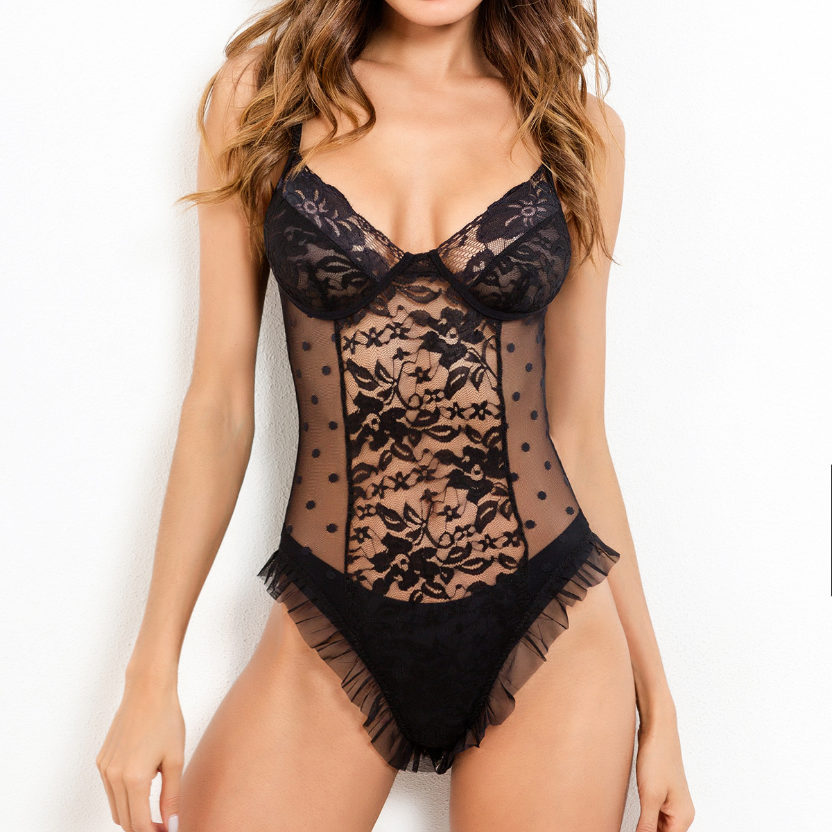 Black Mesh Sheer Transparent Lace Bodysuit Body Women Sleeveless Backless Bodycon Jumpsuit Sexy Bodysuits Combinaison Femme
