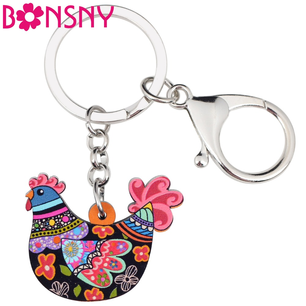 Bonsny Acrylic Anime Cartoon Chicken Hen Key Chains Keyrings For Women Girl Bag Purse Car Ladies Pendant Farm Charms GIFT Bulk(China)