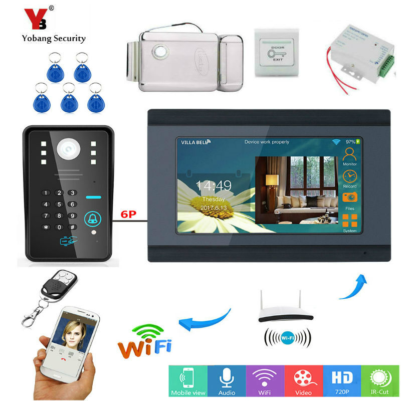 RFID Password 7 Inch LCD Wifi Wireless Video Door Phone Doorbell Camera Intercom APP Remote Control Support 8 Mobile Phone
