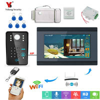 RFID Password 7 Inch LCD Wifi Wireless Video Door Phone Doorbell Camera Intercom APP Remote Control Support 8 mobile phone