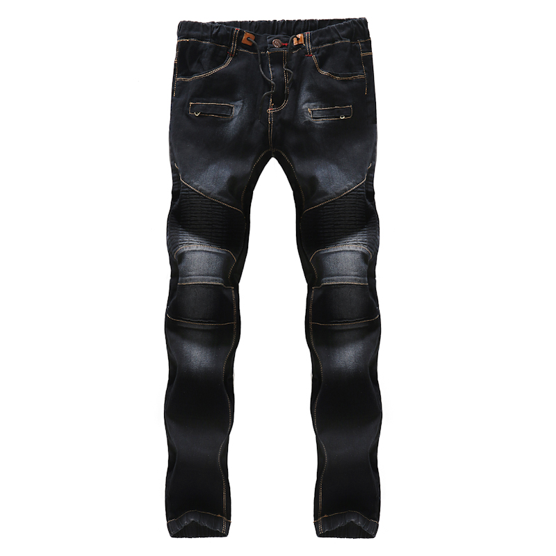 Fashion Mens Folds Black Jeans Classic Slim Male Lace-up Trousers 2018 Fashion Youth Men Casual Cowboy Trousers