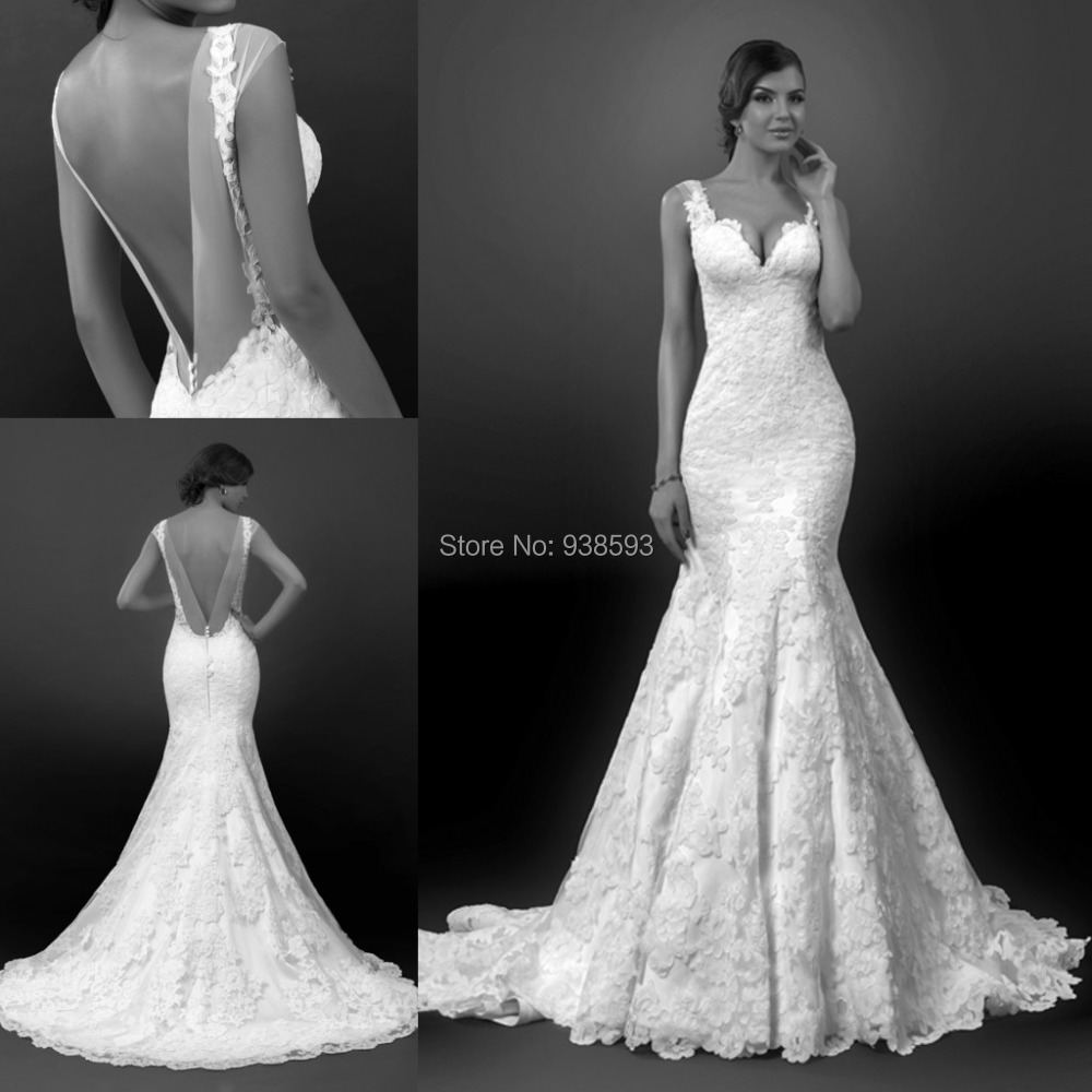 Vintage Style Mermaid Lace Low Back Wedding Dresses Sexy