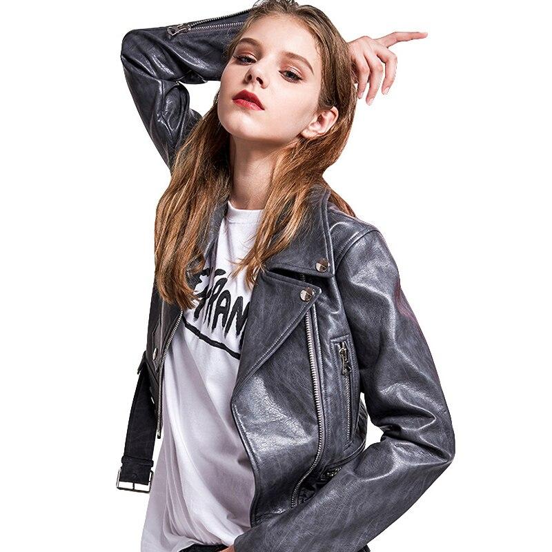 New Fashion Lapel PU Jacket Women Short Slim Motorcycle Leather Jacket Spring Long Sleeve Zipper Faux Soft Leather Coat Female
