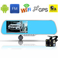 "5"" IPS Touch Screen Android 4.4 Car DVR Review Mirror Camera Dual Les 8GB WiFi GPS Navigation Full HD 1080P+Reaview Camera"