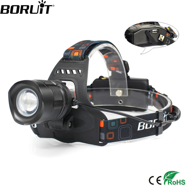 BORUiT RJ 2157 XM L2 LED Headlamp 3000LM 5 Mode Zoom Headlight Rechargeable 18650 Power Bank Waterproof Head Torch for Camping