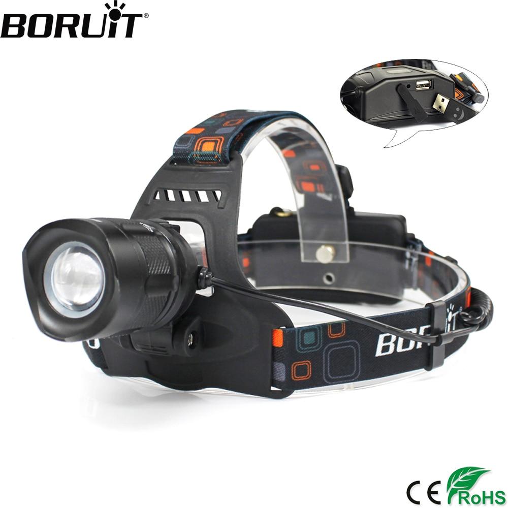 BORUiT RJ-2157 faro LED de alta potencia 5000LM XM-L2 Faro de 5 modos Zoom cabeza antorcha 18650 recargable banco de energía linterna