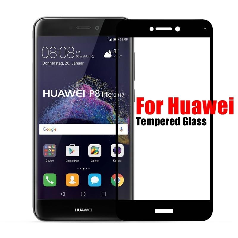 Полное покрытие закаленное Стекло для <font><b>Huawei</b></font> P10 <font><b>Lite</b></font> <font><b>P8</b></font> <font><b>Lite</b></font> 2017 P9 плюс Honor 6&#215;8 Экран протектор Цвет закаленное спереди Плёнки случае