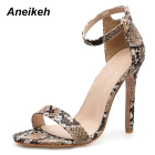 Aneikeh 2019 Pumps Sexy Mixed Colors Buckle Strap Square Heel Sandals High Heels Women Sandals Shallow Cover Heel Apricot Black