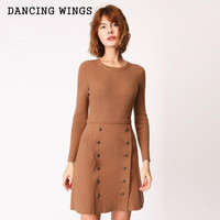 Double Breasted Knit Long Sleeve Dress Autumn And Winter Female High Waist Temperament Bottoming Dress A