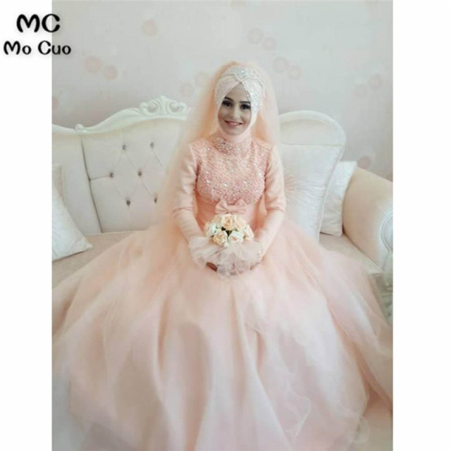 Arabic Muslim Blush Pink Wedding Dress 2018 Bead Lace Liques Ball Gown Ic Bridal Dresses Hijab