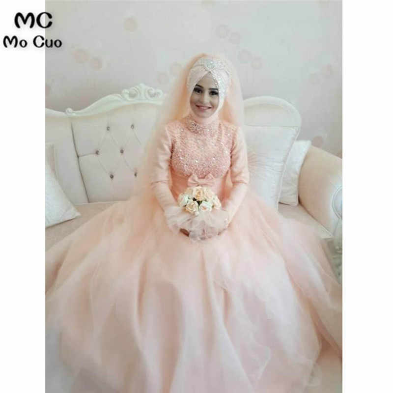 422a6f320f Arabic Muslim Blush Pink Wedding Dress 2018 Bead Lace Appliques Ball Gown  Islamic Bridal Dresses Hijab